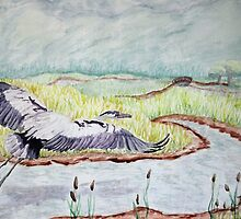 Flight of the Great Blue Heron by Dawna Morton