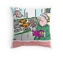 Cartoon - Fish Funerals Throw Pillow