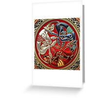 Celtic Treasures - Three Dogs on Gold and Red Velvet Greeting Card