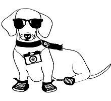 Hipster Dachshund - Cute Dog Cartoon Character - Sausage Dog - Weiner Dog Photographic Print