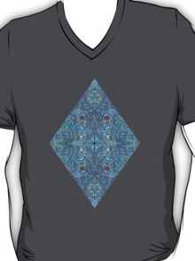 Blue and Teal Diamond Doodle Pattern T-Shirt