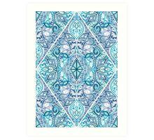 Blue and Teal Diamond Doodle Pattern Art Print