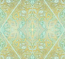 Mint & Gold Effect Diamond Doodle Pattern by micklyn