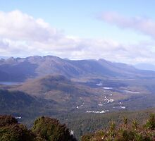 looking towards Henty, gold mine area, in Tasmania, from Mt Read by gaylene