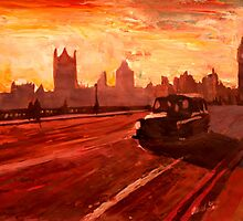 London Taxi Big Ben Sunset with Parliament by artshop77