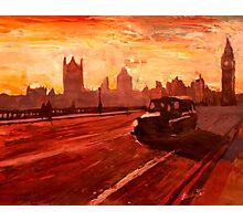 London Taxi Big Ben Sunset with Parliament Photographic Print