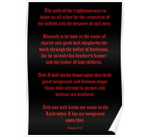 Ezekial 25:17 (Old English Black and Red) Poster