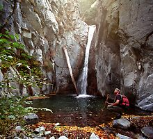 Hiker, Cucamonga Falls by Mark Ramstead