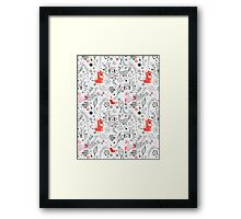 graphic floral pattern with cats and birds Framed Print