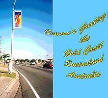 Gold Coast Banner with Myself Posing on the Gold .Coast. Hwy at Tugun by Virginia McGowan