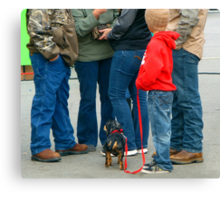 Kids and Puppies...and Blue Jeans Canvas Print