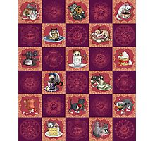Kitten Tea Party Blocks Alternating with Baroque Medallions Photographic Print