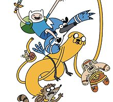 Finn, Jake, Mordecai & Rigby by MonHood