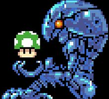 Metroid Chozo with Mario 1up by Celticers