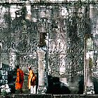 Monks At Bayon Wall by MarkStanden