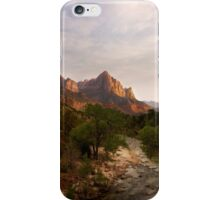 Virgin River and The Watchman at sunset. iPhone Case/Skin