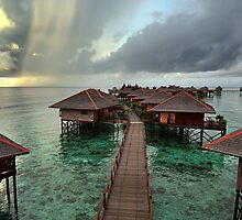 Early Morning Rainstorm on Mabul Island  by Heather Prince ( Hartkamp )