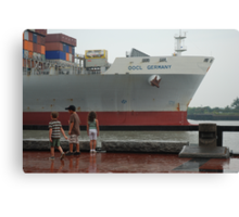 Container Ship Heading Out Canvas Print