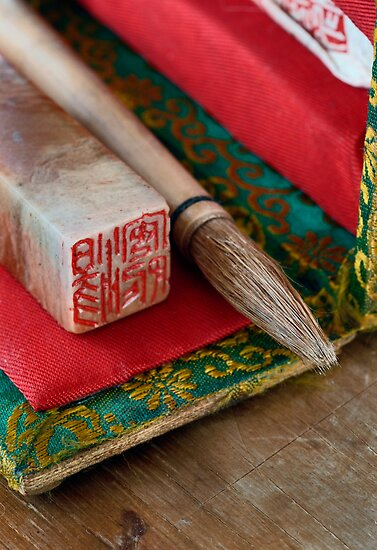 Chinese Calligraphy Brush And Seal by Antaratma Images