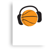 Basketball with musical headphones Canvas Print