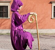levitate girl in Old Town in Warsaw  by Arletta Cwalina