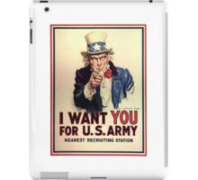 I Want You! Uncle Sam Wants You, USA, War, Recruitment Poster iPad Case/Skin
