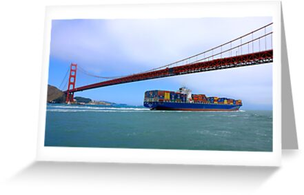 Commerce.- Cargo ship under the Golden Gate Bridge, San Francisco, California by Eyal Nahmias