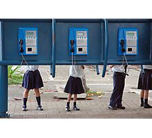 Communication! - School children play with public phone in Costa Rica Photographic Print
