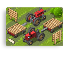Isometric Red Farm Tractor in Two Positions Canvas Print