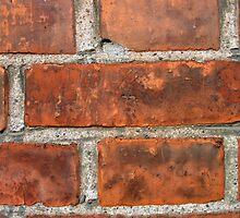 Wall of brown bricks by Ron Zmiri