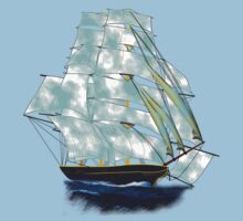 A Cloud of Sails on a Vintage Ship T-shirt and leggings design by Dennis Melling
