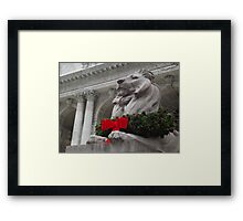 Lion Sculpture, Holiday Decorations, New York Public Library, New York City Framed Print
