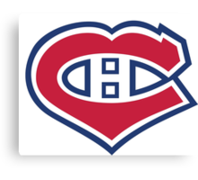 Habs in my Heart Large logo Canvas Print