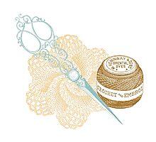 antique typographic vintage crochet kit Photographic Print