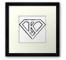 K letter in Superman style Framed Print