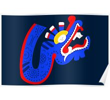 Aztec blue dragon Poster