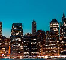 Manhattan at night panorama by Mikhail Palinchak