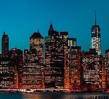 Manhattan at night by Mikhail Palinchak