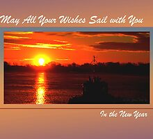New Year Wish-Sail (framed for holiday card) by TerriRiver