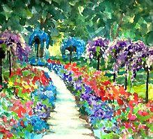 Flower Walk, Dow Gardens Watercolor Print by Artist Hannah Tiffin by HannahTiffinArt
