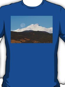 Full Moon Setting Over Snow Covered Twin Peaks  T-Shirt