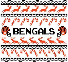 Bengals Football Christmas Ugly Sweater T Shirt by CosmikMonkey