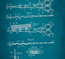Vintage Hair Cutting Scissors Patent 1954 by Patricia Lintner