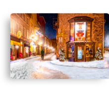 A Winter Night in Old Quebec Canvas Print