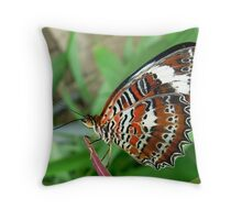 Orange Lacewing Butterfly Throw Pillow