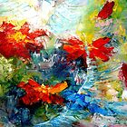 Blue Birds and Poppy Abstract by Hannah Tiffin by HannahTiffinArt