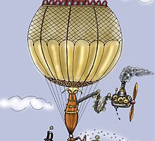 CHRISTMAS HOT AIR BALLOON STEAMPUNK blue by squigglemonkey