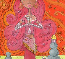 Pink Yoga Gypsy – Whimsical Folk Art Girl in Namaste Pose  by erica lubee  ~ SkyBlueWithDaisies