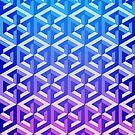 Penrose Cube Stack - Blue Purple by VanHogTrio