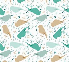 Music birds white pattern by JuliaBadeeva